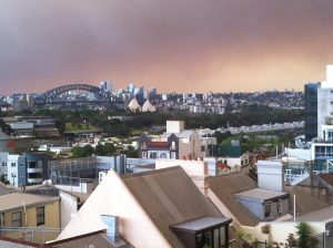 The fires from across the state brought ash and smoke into the heart of Sydney city...