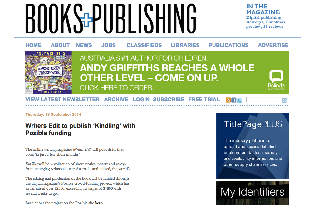 Kindling in Books and Publishing